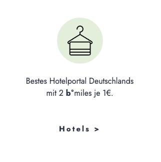Bestes Hotelportal Deutschlands | b°miles für Hotelbuchungen auf bonusmiles sammeln