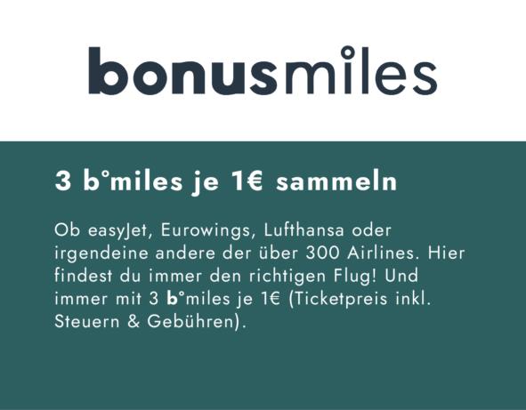 bonusmiles | bei über 300 Airlines b°miles sammeln | Flugreisen