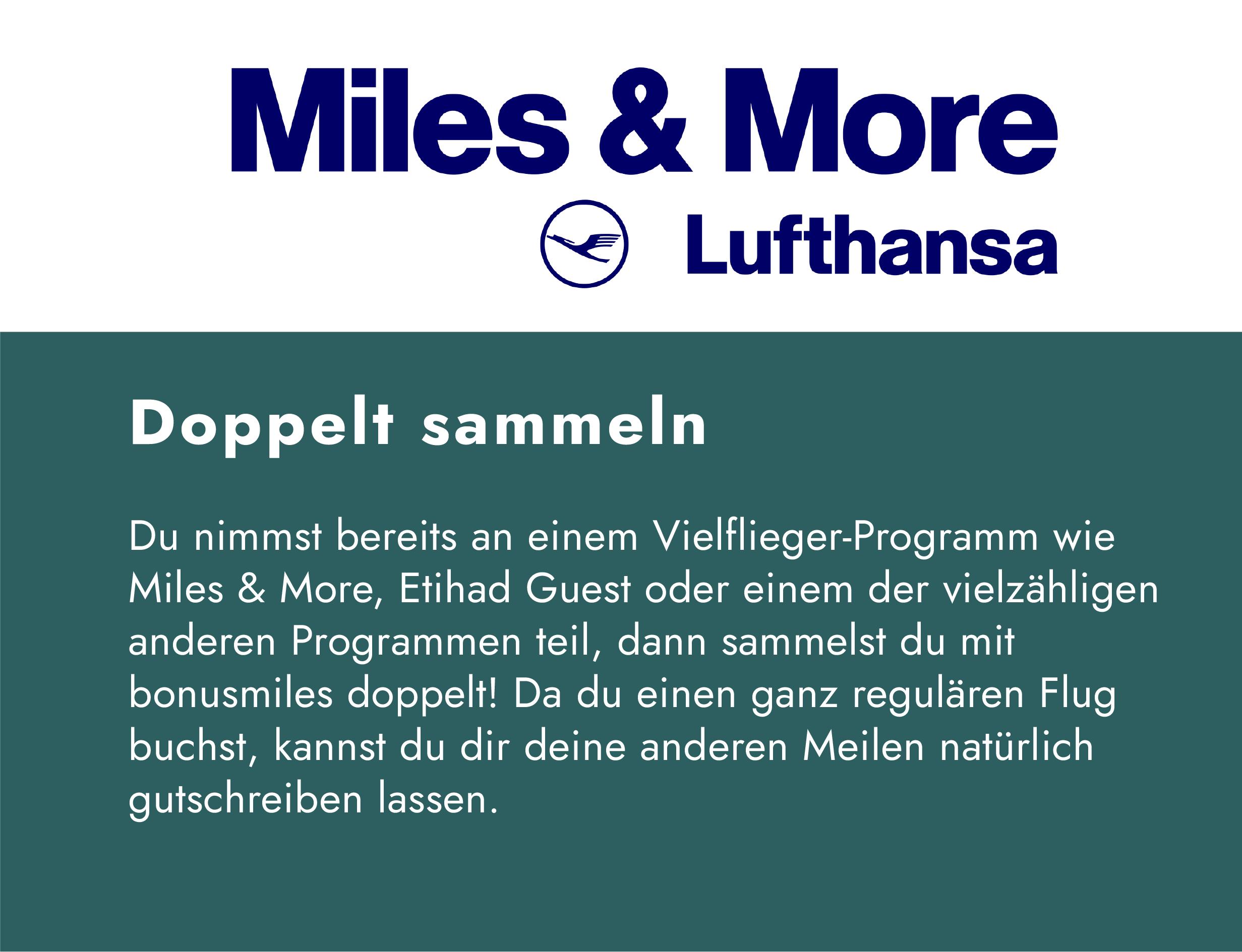 Vielflieger sammeln doppelt Punkte |Miles & More der Lufthansa und bonusmiles
