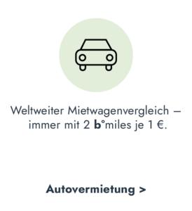b°miles für eine weltweite Autovermietung sammeln
